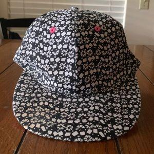 White / Black & Pink Adjustable Hat